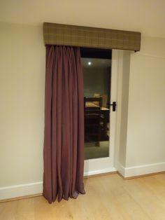 Kirsty Lockwood Furnishings - upholstered pelmet in plaid / tartan fabric with Prestigious Textiles Heather.