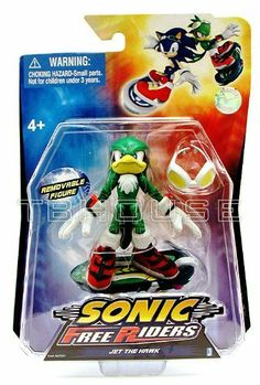 Sonic Free Riders Action Figure Jet The Hawk by Jazwares Toys. $10.99. Ages 4 and up. Comes with Extream Gear board.. 3.5 inch figure, 4 inches while standing on board. Its a race to the finish line with the Sonic Free Riders Action Figures!