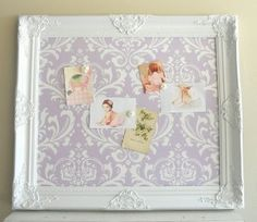 lavender Shabby Chic  | MAGNET BOARD Shabby Chic Wall Decor Damask Lavender Lilac White Pastel ...