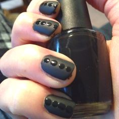 DIY nails with OPI Black Onyx and Essie Matte about you
