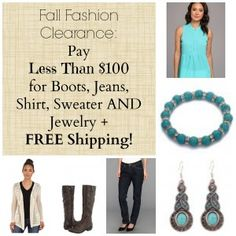 Fall Fashion Clearance:  Pay Less Than $100 for Boots, Jeans, Shirt, Sweater AND Jewelry + FREE Shipping!
