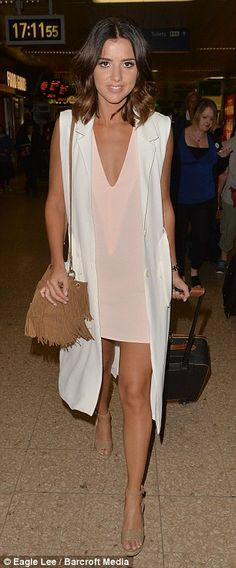 65a3befd1474 Lucy Mecklenburgh shows off her long bronzed legs in pastel mini dress. Holiday  WearHoliday OutfitsSummer ...
