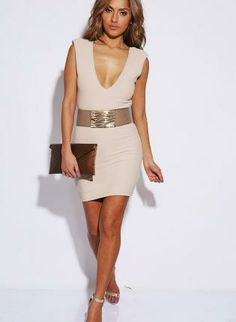 Beige Deep V Neck Power Shoulder Fitted Mini Dress,  Dress, Mini Dress, Casual