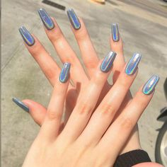 Pin For Trend Presented Acrylic Nails and Matte Nails are Best Suited for Use Anywhere - Nail Art Designs 2019 (Best Nail Designs Best Acrylic Nails, Matte Nails, My Nails, Holographic Nails Acrylic, Glitter Nails, Halo Nails, Shiney Nails, Best Nails, Acrylic Nails Chrome