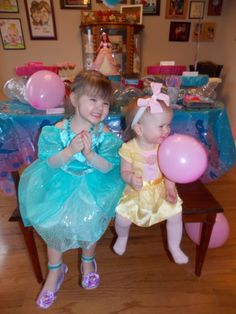 Birthday Girl Princess Ariel and Little Sissy Princess Belle