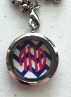 Chevron circle monogram disk for floating locket. Memory locket, South Hill Designs, Origami Owl, Floating Locket on Etsy, $8.00