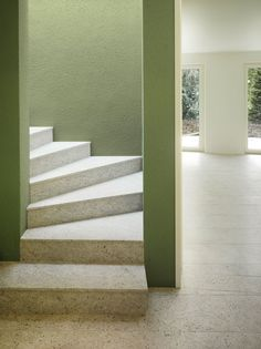 Seilerlinhart Architekten, Franz Rindlisbacher · House R Staircase Railings, Stairs, Staircases, Stair Steps, Contemporary Architecture, Design Elements, Colours, Green, Home Decor