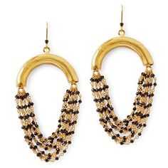 Statement earrings made of gold plated brass hollow tubes, each with beaded spinel chains dangling from a spinel studded hook. Natural, hand cut gemstone with gold plated brass. Size: in length / tube x with chains length) Black Gold Chain, Gold Chains, Betty Design, Statement Earrings, Drop Earrings, Black Betty, Geometric Shapes, Tube, Dangles