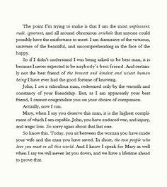 Sherlock's speech, The Sign of Three