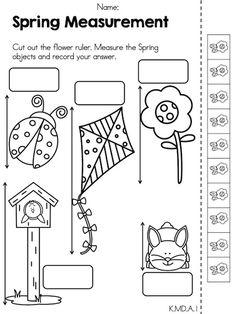 Spring Measurement >> Part of the Spring Kindergarten Math Worksheets >> Common Core Aligned