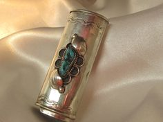Vintage Native American Silver and Turquoise Cigarette Lighter Case  $105.95