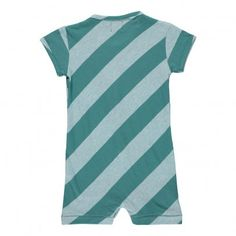 Organic Cotton Playsuit Striped Sand Blue Kidscase