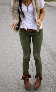 Loving the olive pants and faux fur vest, but I'd wear my tall riding boots with it