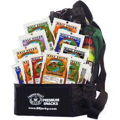 Buffalo Bills 8oz Country Cut Beef Jerky Backpack Gift Cooler (w/ 12 assorted 8oz packs of jerky) - http://www.yourgourmetgifts.com/buffalo-bills-8oz-country-cut-beef-jerky-backpack-gift-cooler-w-12-assorted-8oz-packs-of-jerky/