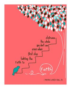 FAITH by Martin Luther King, Jr..-Inspirational Prints Quotes, Typography & Digital Illustration Design 8 x 10 Print-PINK-SALMON Background. $18.00, via Etsy.