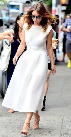 Celebrity look | Tea length white dress and neutral strapped heels