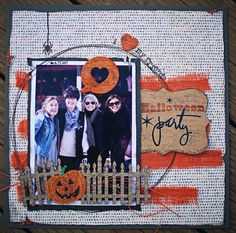 Halloween Party - Scrapbook.com - Layers, distressing, burlap, textures and stitching - lots of fun details on this layout.