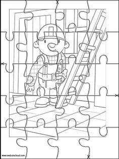 Printable jigsaw puzzles to cut out for kids Bob the Builder 1 Coloring Pages