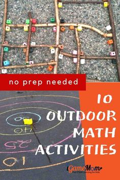 Outdoor math activity ideas for kids from preschool to high school. Stop summer slide with fun STEM activities to learn numbers, shapes, angles, algebra, geometry, math problem solving. Kindergarten Math Activities, Kids Learning Activities, Summer Activities For Kids, Math For Kids, Science For Kids, Stem Activities, Outdoor Preschool Activities, Kinesthetic Learning, Montessori Math