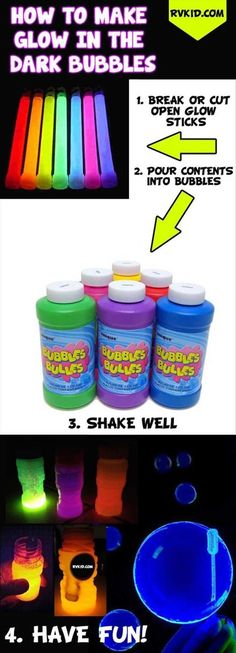 Glow in the Dark Bubbles at Night | Fun Family Activities Around The Campfire | DIY Fun Games And Recipes by Pioneer Settler at http://pioneersettler.com/fun-family-activities-around-the-bonfire/