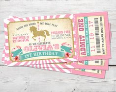 Pink Carousel Ticket Invitation, Merry Go Round Party, Merry Go Round Invitation, DIGITIAL, Carousel Party, Carousel Birthday Invite by partymonkey on Etsy https://www.etsy.com/listing/548982441/pink-carousel-ticket-invitation-merry-go