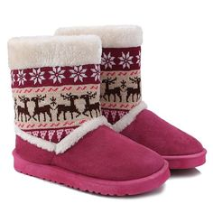 Deer Snowflake Knitted Flock Snow Boots #>=#>=#>=#>=#> Click on the pin to check out discount price, color, size, shipping, etc. Save and like it!