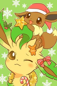 Extremely Cute Eevee and Leafeon