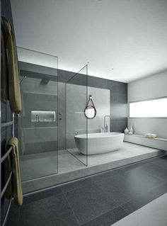 Minimal Interior Design Inspiration - - Here we showcase a a collection of perfectly minimal interior design examples for you to use as inspiration. Check out the previous post in the series: Minimal. Modern Bathroom Design, Bathroom Interior Design, Modern House Design, Modern Bathrooms, Bathroom Designs, Modern Bathtub, Villa Design, Design Hotel, Dream Bathrooms