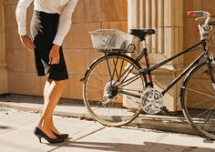 """A CUP OF JO: Bike clothes by a Seattle designer.  The skirt unzips in the back giving 12"""" of extra material, stretchy fabric and higher waist"""