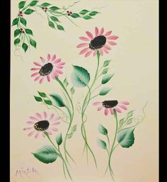 Pink Daisies on Canvas Acrylic Painting