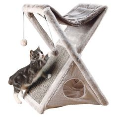 Tixie Pet Miguel Fold And Store Cat Tower - Light Gray : Target