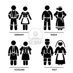 Europe - Germany Russia Scotland Italy Man Woman People National Traditional Costume Dress Clothing Icon Symbol Sign Pictogram Stock Photo -...