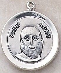 """SAINT ADAM MEDAL, $34.95. Price includes shipping to all fifty states. Solid sterling silver medal, approx. 3/4"""" in circumference. Gift boxed with a complimentary 20"""" stainless steel chain. Carries the Creed lifetime guarantee."""