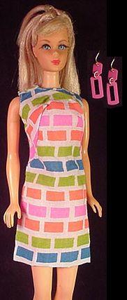 Vintage Barbie Print Aplenty #1686 (1967 - 1968)    Multi-Color Block Print Dress  Fuchsia Closed Toe Heels  Fuchsia Rectangular Drop Earrings
