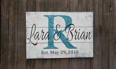 Personalized Name Sign Pallet Wood Sign Family Name Sign Shabby Chic Wall Decor Personalized Wedding Gift Bridal Shower from Rusticly Inspired Signs.