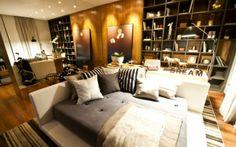 1ª Mostra de Decoração Fortuna 2011 - Condomínio Fazenda da Grama / DP Barros Arquitetos Associados #bedroom #wall #lighting #shelves