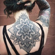 Mandala by Mike Schlicher at Lake Erie Studio in Toledo OH. New Tattoos, Cool Tattoos, Tatoos, Back Tattoo, I Tattoo, Mandala Tattoos For Women, Beard Logo, Hidden Tattoos, Cover Tattoo