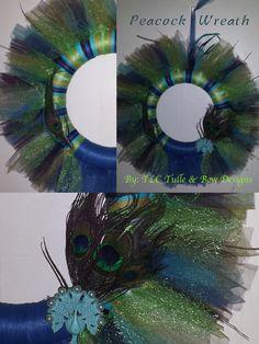 Peacock Wreath - Tulle Wreath