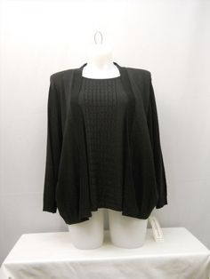 30.05$  Buy now - http://vihkz.justgood.pw/vig/item.php?t=vhhvtk42130 - PLUS SIZE 2X Womens Sweater ALFRED DUNNER Solid Black Twofer Layered Pullover 30.05$