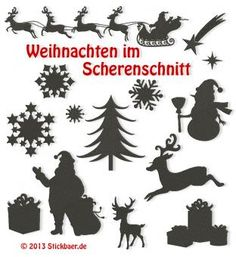 Weihnachten im Scherenschnitt Christmas in Silhouettes Machine Embroidery Designs