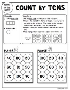 """Sample Math Game from """"Math Games for Kinder Partners"""" {20 Reproducible and Reusable Partner Games for Math Workshop, Centers, and/or Homework Fun with a Parent} 36 pages, $ #mathgames #countingbytens"""