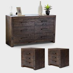 Chest of Drawers:The Campbell chest of drawers manufactured from solid reclaimed wood is a perfect choice for the sustainability-conscious buyer. This dark stained furniture piece with parquet design panels features plenty of vanity space with six storage drawers and metal handles. Pedes