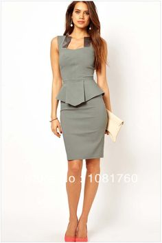 Get an utterly glam look with this bodycon peplum dress. With an unusual and flattering square neckline, peplum waist and midi length, this dress will definitely draw admiring glances as it brings sop Pencil Dress, Peplum Dress, Bodycon Dress, Tank Dress, Sheath Dress, Sleeveless Dresses, Gray Dress, Sexy Dresses, Business Outfit