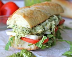 Chicken Pesto Sandwich - Lightened up with Greek yogurt, this hearty sandwich is one of the quickest, most tastiest meals you'll ever have! LUNCH. Add some cukes & turn into a wrap.