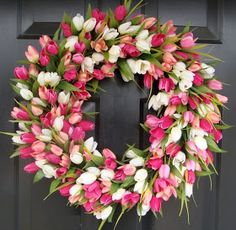 Valentine tulip wreath, add a few more colors and keep it through spring!