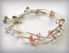 Oregon Sunstone Bracelet Multi-strand with Silver and 14k Gold Filled Accents. $95.00, via Etsy.