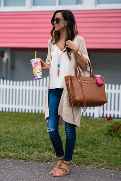 Long necklace and cardigan with Rebecca Minkoff monroe tote and jeans for a casual spring time look.
