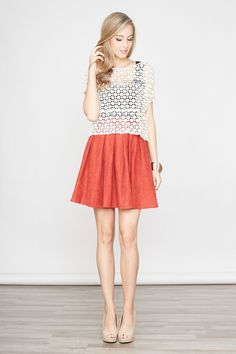 Pleated skirt and crochet top