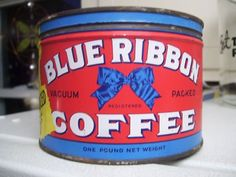 blue & red vintage coffee tin