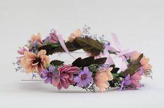 Pink and purple chrysanthemum and daisy Flower Crown for Purple Daisy, Purple Satin, Flower Crowns, Chrysanthemum, Dusty Pink, Headpiece, Peach, Hair Accessories, Bridesmaid